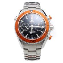 Omega Seamaster Chronograph Swiss Valjoux 7750 Movement Orange Bezel with Black Dial S/S