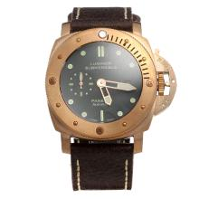 Panerai Luminor Submersible Swiss Valjoux 7750 Movement Rose Gold Case with Black Dial-Leather Strap