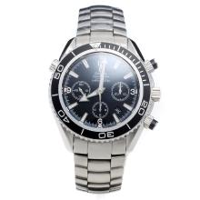 Omega Seamaster Chronograph Swiss Valjoux 7750 Movement Ceramic Bezel with Black Dial S/S-2