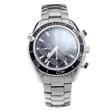Omega Seamaster Chronograph Swiss Valjoux 7750 Movement Ceramic Bezel with Black Dial S/S-1