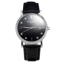 Patek Philippe Swiss ETA 2836 Movement with Black Dial-Leather Strap