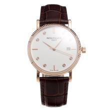 Patek Philippe Swiss ETA 2836 Movement Rose Gold Case with White Dial-Leather Strap