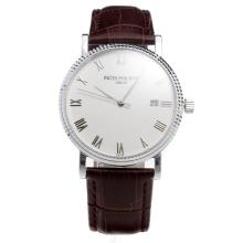 Patek Philippe Swiss ETA 2836 Movement with White Dial-Leather Strap