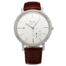 Piaget Altiplano Automatic Diamond Bezel with White Dial-Leather Strap-1