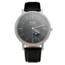 Piaget Altiplano Automatic Diamond Bezel with Black Dial-Leather Strap
