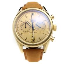 Tag Heuer Carrera Working Chronograph Gold Case with Golden Dial-Leather Strap-3