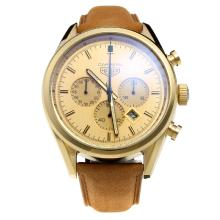 Tag Heuer Carrera Working Chronograph Gold Case with Golden Dial-Leather Strap