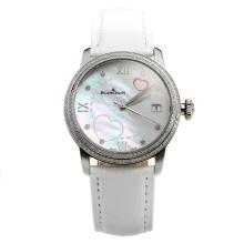 Blancpain Diamond Bezel with MOP Dial-White Leather Strap-1