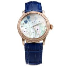 Blancpain Rose Gold Case Diamond Bezel with MOP Dial-Blue Leather Strap