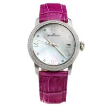 Blancpain Diamond Bezel with MOP Dial-Purple Leather Strap