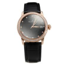 Blancpain Rose Gold Case Diamond Bezel with Black Dial-Black Leather Strap