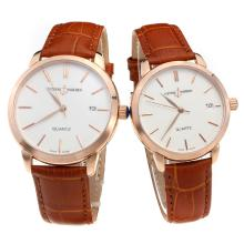 Ulysse Nardin Rose Gold Case Stick Markers with White Dial-Brown Leather Strap