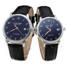 Ulysse Nardin Number Markers with Black Dial-Black Leather Strap