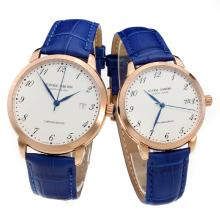 Ulysse Nardin Rose Gold Case Number Markers with White Dial-Blue Leather Strap