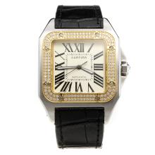 Cartier Santos 100 Swiss ETA 2836 Movement Two Tone Case Diamond Bezel with White Dial-Leather Strap