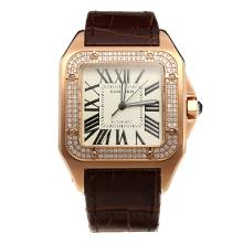 Cartier Santos 100 Swiss ETA 2836 Movement Rose Gold Case Diamond Bezel with White Dial-Leather Strap