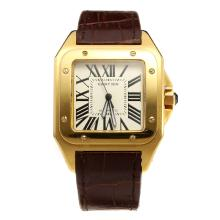 Cartier Santos 100 Swiss ETA 2836 Movement Gold Case with White Dial-Leather Strap