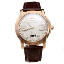 Blancpain Rose Gold Case with White Dial-Leather Strap
