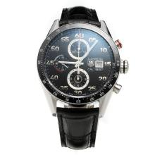 Tag Heuer Carrera Cal.1887 Chronograph Swiss Valjoux 7750 Movement Ceramic Bezel with Black Dial-Leather Strap