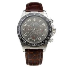 Rolex Daytona Automatic Ceramic Bezel with Gray Dial-Leather Strap