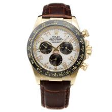 Rolex Daytona Automatic Gold Case Ceramic Bezel with White Dial-Leather Strap