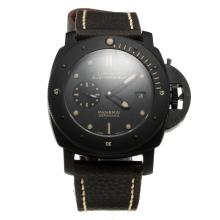 Panerai Luminor Submersible Swiss Calibre P.9000 Automatic Movement Ceramic Case with Black Dial-Leather Strap-1