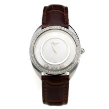 Chopard Happy Sport Diamond Bezel with MOP Dial-Leather Strap