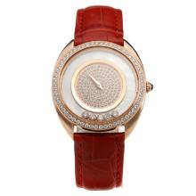 Chopard Happy Sport Rose Gold Case Diamond Bezel with MOP Dial-Leather Strap