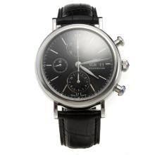 IWC Portofino Chronograph Swiss Valjoux 7750 Movement with Black Dial-Leather Strap