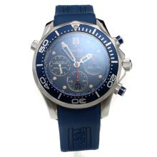Omega Seamaster Chronograph Swiss Valjoux 7750 Movement with Blue Dial-Rubber Strap-1