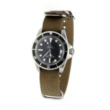 Rolex Submariner Automatic Black Dial with Green Nylon Strap-Vintage Edition