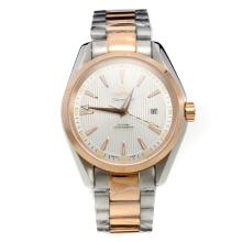 Omega Seamaster 18K Plated Gold Automatic Movement Two Tone with White Dail