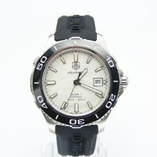 Tag Heuer Aquaracer Calibre 5 Swiss ETA 2824 Movement Ceramic Bezel with White Dial-Rubber Strap