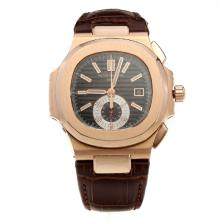 Patek Philippe Nautilus Swiss Valjoux 7750 Movement Rose Gold Case with Brown Dial-Leather Strap