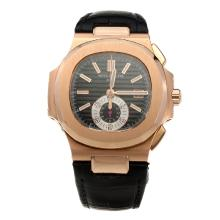 Patek Philippe Nautilus Swiss Valjoux 7750 Movement Rose Gold Case with Black Dial-Leather Strap-1