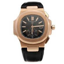 Patek Philippe Nautilus Swiss Valjoux 7750 Movement Rose Gold Case with Black Dial-Leather Strap