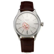 Rolex Cellini Automatic with White Dial-Leather Strap-5