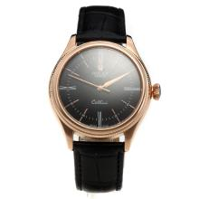 Rolex Cellini Automatic Rose Gold Case with Black Dial-Leather Strap-2