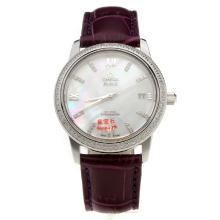 Omega De Ville Diamond Bezel with MOP Dial-Purple Leather Strap-1