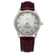 Omega De Ville Diamond Bezel with MOP Dial-Purple Leather Strap