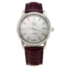Omega De Ville with MOP Dial-Purple Leather Strap