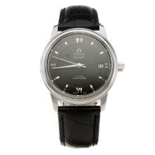 Omega De Ville with Black Dial-Black Leather Strap-1
