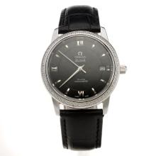 Omega De Ville Diamond Bezel with Black Dial-Black Leather Strap-1