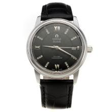 Omega De Ville with Black Dial-Black Leather Strap