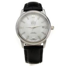 Omega De Ville with MOP Dial-Black Leather Strap-1