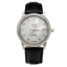 Omega De Ville Diamond Bezel with MOP Dial-Black Leather Strap