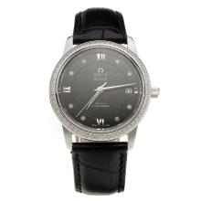 Omega De Ville Diamond Bezel with Black Dial-Black Leather Strap