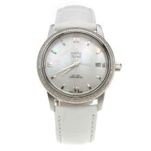 Omega De Ville Diamond Bezel with MOP Dial-White Leather Strap-2