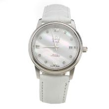 Omega De Ville with MOP Dial-White Leather Strap-2
