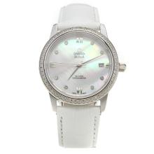 Omega De Ville Diamond Bezel with MOP Dial-White Leather Strap-1